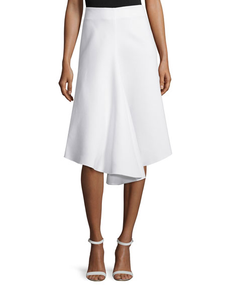 NICHOLAS Ponte Draped-Front Skirt, White