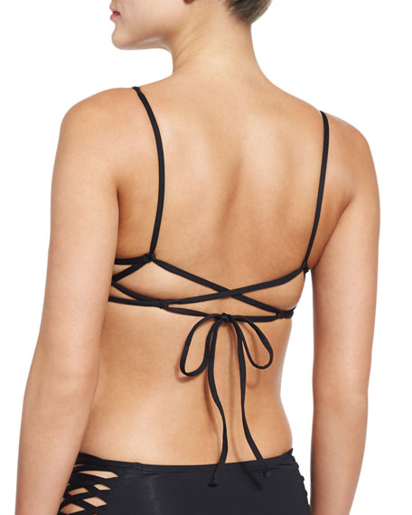 Haley Pinched Swim Top, Black