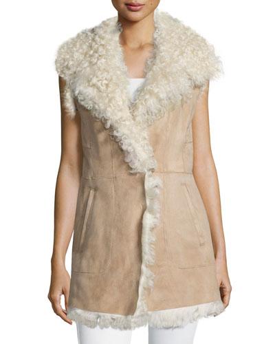 Sleeveless Lamb Shearling Fur Vest
