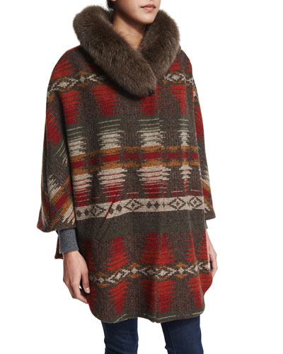 3/4-Sleeve Woven Cape with Fur Collar
