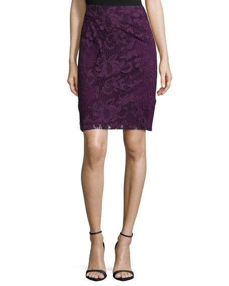 Natori Lace Pencil Skirt, Mulberry