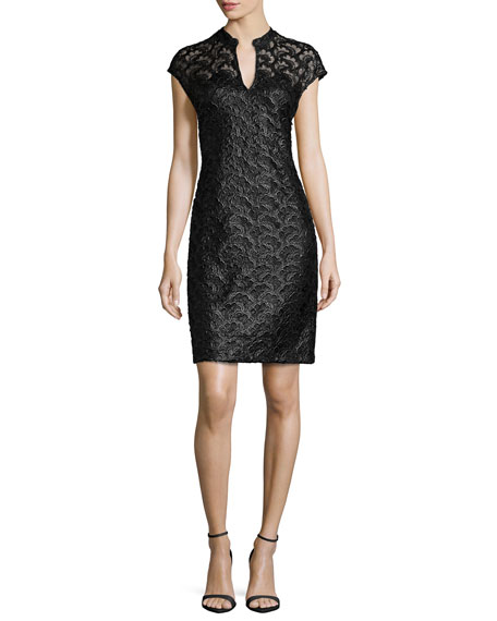 Natori Cap-Sleeve Lace Dress, Black