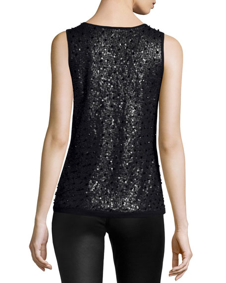 Scoop-Neck Embellished Sweater Tank, Black