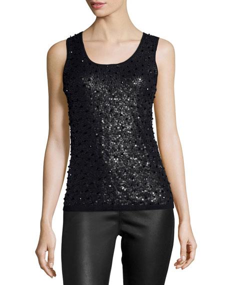 Scoop-Neck Embellished Sweater Tank, Black