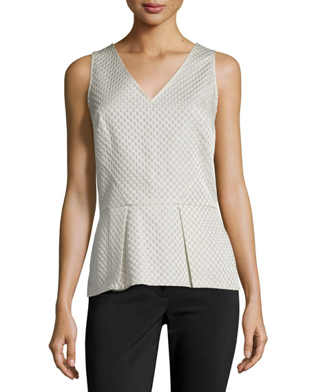 Matelasse Sleeveless Peplum Top, Pearl