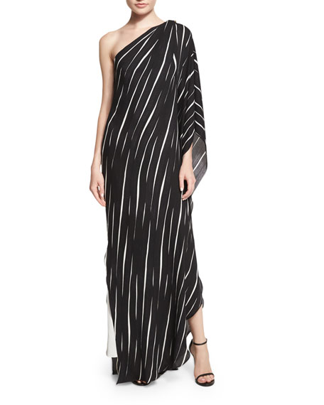 Halston Heritage One-Shoulder Draped Striped Dress