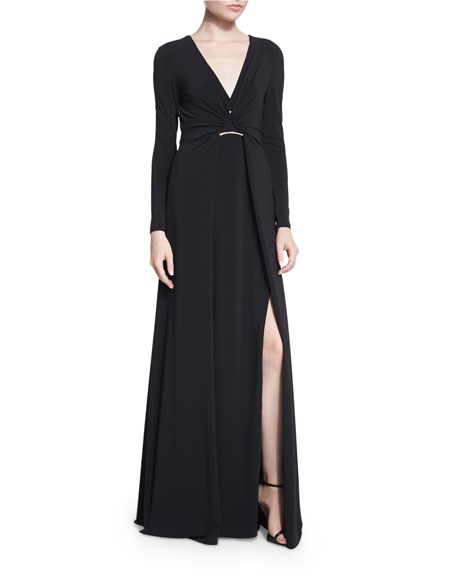 Halston Heritage Long-Sleeve Twisted-Front Jersey Gown