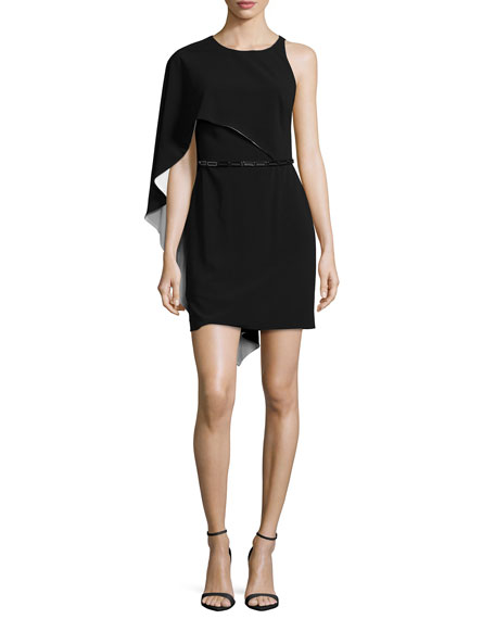 Halston Heritage Flowy-Sleeve Belted Dress