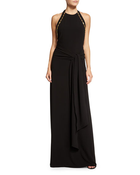 Halston Heritage Sleeveless High-Neck Sarong Gown
