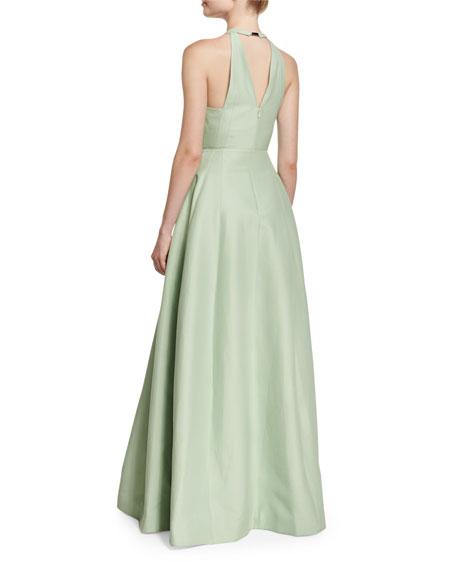 High-Neck Faille Full-Skirt Gown