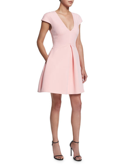 Halston Heritage Cap-Sleeve V-Neck Structured Dress