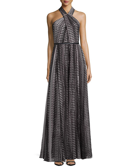 Halston Heritage Crisscross Halter Printed Flowy Gown
