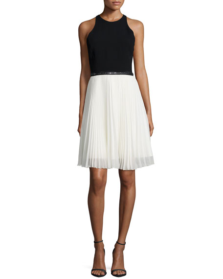 Halston Heritage Sleeveless Belted Dress W/ Pleated Skirt