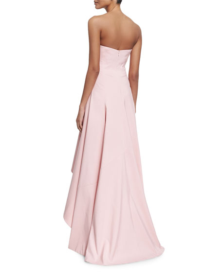 Strapless Structured High-Low Gown, Lotus