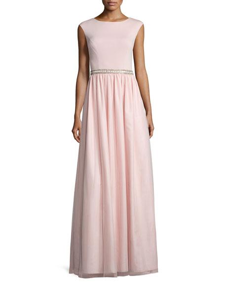 Aidan Mattox Bridesmaid Cap-Sleeve Jersey Combo Gown