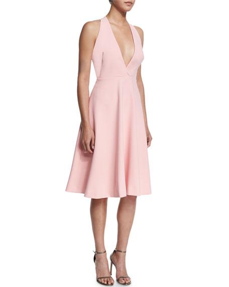 Halston Heritage V-Neck Full-Skirt Halter Dress