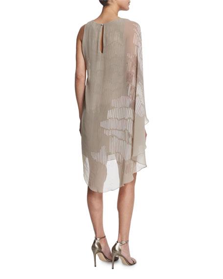 Asymmetric Flowy-Sleeve Printed Dress