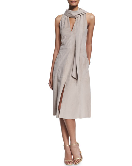 Halston Heritage Sleeveless Ultrasuede® Dress W/ Scarf
