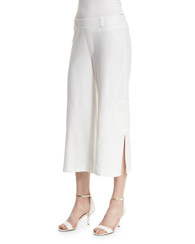 Neon Buddha Raven Wide-Leg Cropped Pants, White