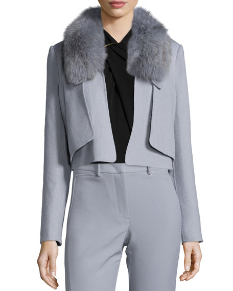 Halston Heritage Cropped Removable-Fur-Collar Jacket