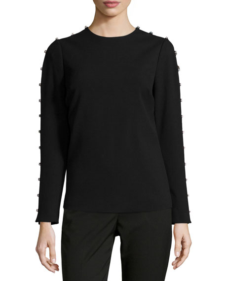 MICHAEL Michael Kors Jeweled-Sleeve Knit Top & Miranda