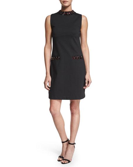 MICHAEL Michael Kors Sleeveless Jeweled-Neck Dress