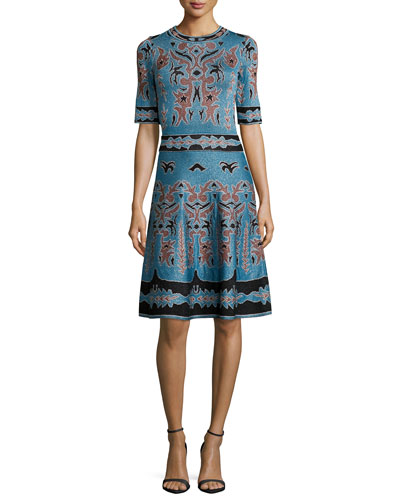 Embroidered Jacquard Fit & Flare Dress