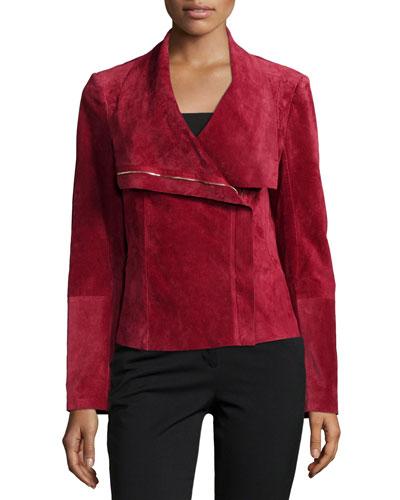 Suede Asymmetric Zip-Front Jacket