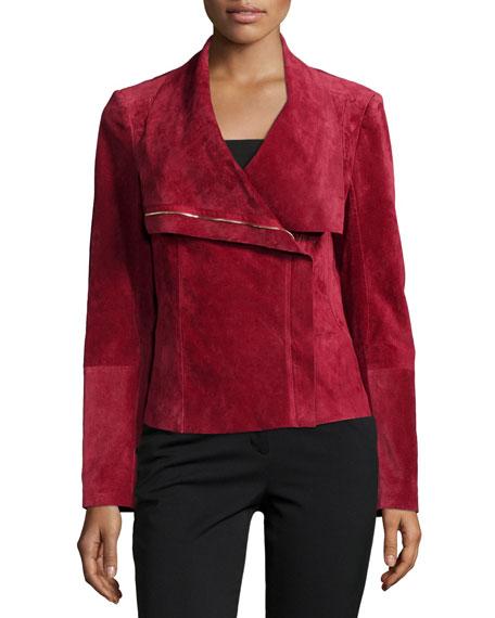 Neiman Marcus Suede Asymmetric Zip-Front Jacket