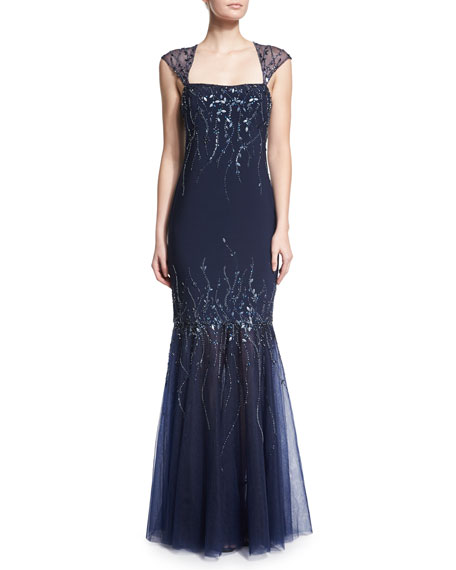 Embellished Mermaid Gown, Midnight