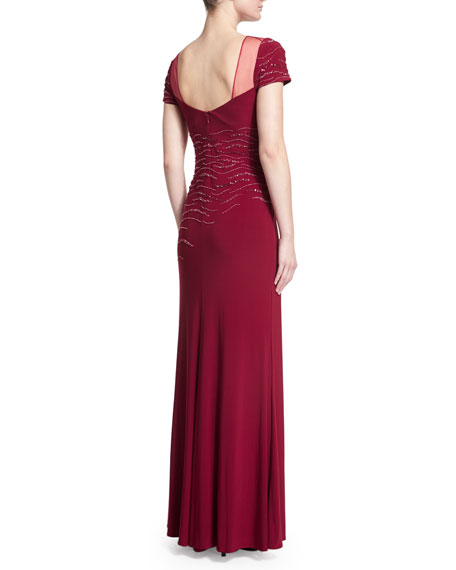 Embellished Short-Sleeve Gown, Claret