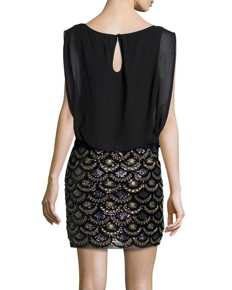 Boat-Neck Blouson-Top Sequined-Skirt Dress, Black