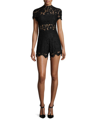 Lindsey Short-Sleeve Lace Romper, Black