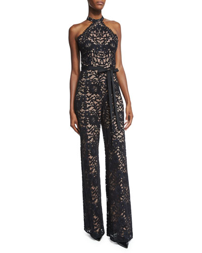 Rene Halter-Neck Lace Jumpsuit, Black