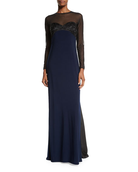 MIGNON Embellished Two-Tone Gown, Black/Midnight