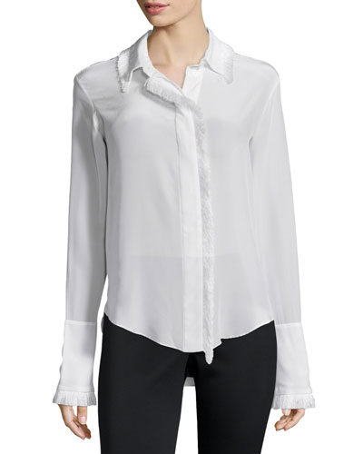 Mariela Frayed-Trim Blouse, White
