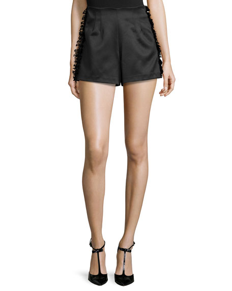 Alexis Sandy High-Waist Shorts W/Frayed-Trim, Black