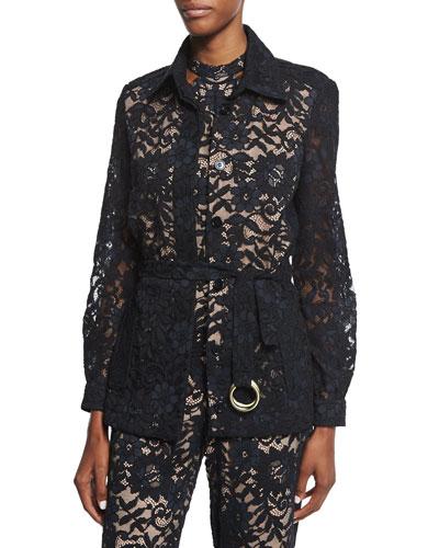 Tim Belted Lace Jacket, Black