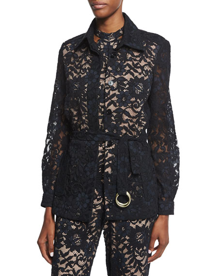 Alexis Tim Belted Lace Jacket, Black