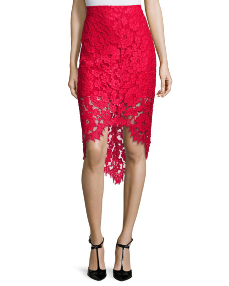 wendy lace high low pencil skirt