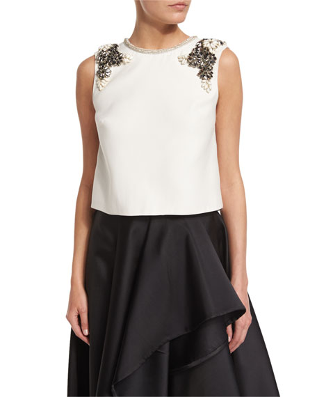 Monique Lhuillier Jewel-Neck Embellished Shell, Silk White