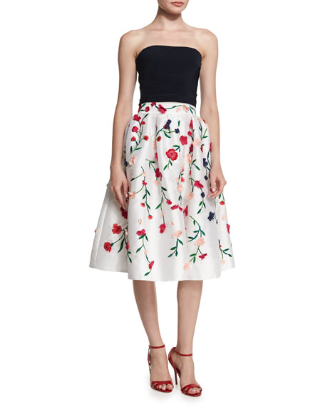 Floral-Embroidered A-Line Skirt, Multi Colors