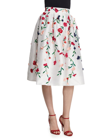 Monique Lhuillier Floral-Embroidered A-Line Skirt, Multi Colors