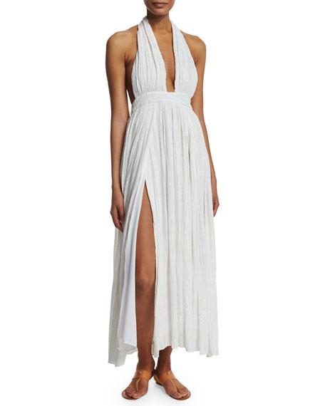 Mara Hoffman Metallic Plunge-Neck Wrap Coverup Dress