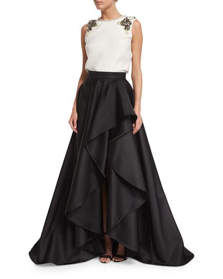 High-Waist Draped Ball Skirt, Black