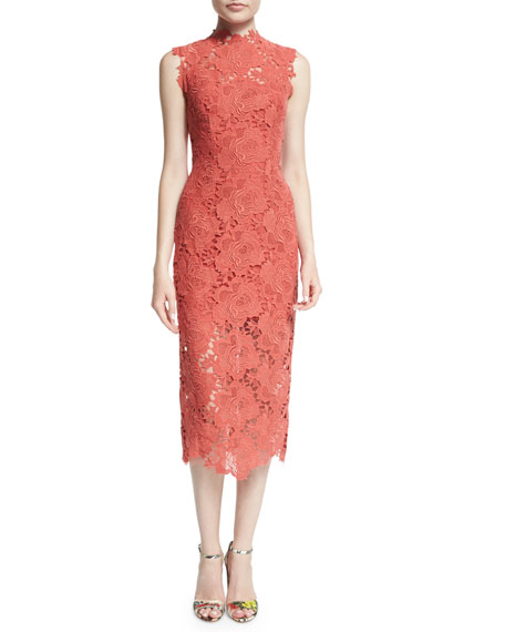 Monique Lhuillier Sleeveless Lace Sheath Dress, Fire