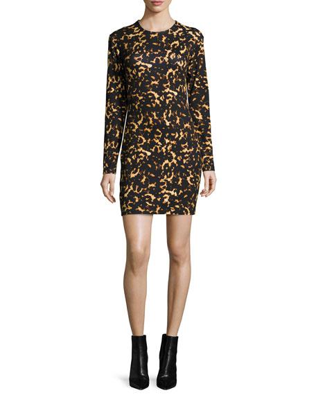 McQ Alexander McQueen Long-Sleeve Printed Mini Dress, Black