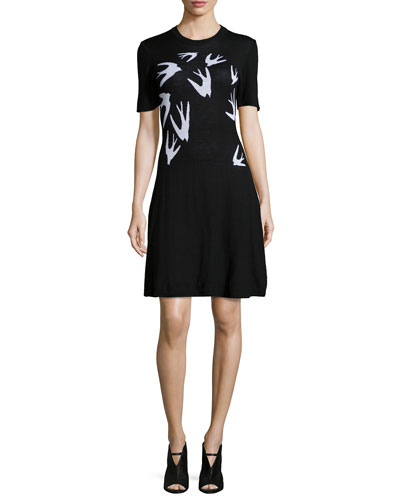 Swallow Jacquard Short-Sleeve Dress