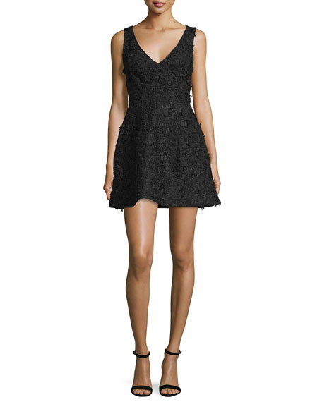 Monique Lhuillier Sleeveless Floral-Applique Mini Dress, Black
