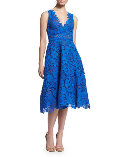 Sleeveless Fit-&-Flare Lace Dress, Cobalt
